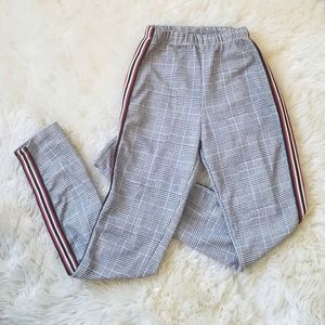 Plaid Leggings Side Strips Waist Band Size XS